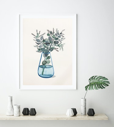 (CreativeWork) Seeded Eucalyptus in Turquoise Glass Vase by Sally Browne. Watercolour Paint. Shop online at Bluethumb.