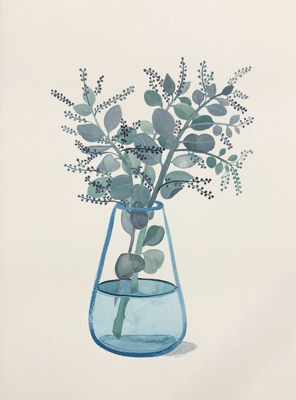 (CreativeWork) Seeded Eucalyptus in Turquoise Glass Vase by Sally Browne. watercolour. Shop online at Bluethumb.