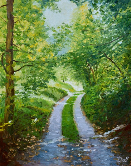 (CreativeWork) Annecy Forest Track by Dai Wynn. oil-painting. Shop online at Bluethumb.