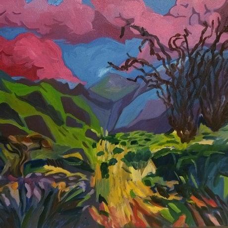 (CreativeWork) meadow light by Adam Mennella. Oil Paint. Shop online at Bluethumb.