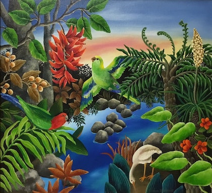 (CreativeWork) TROPICAL SUMMER by Johanna Hildebrandt. arcylic-painting. Shop online at Bluethumb.