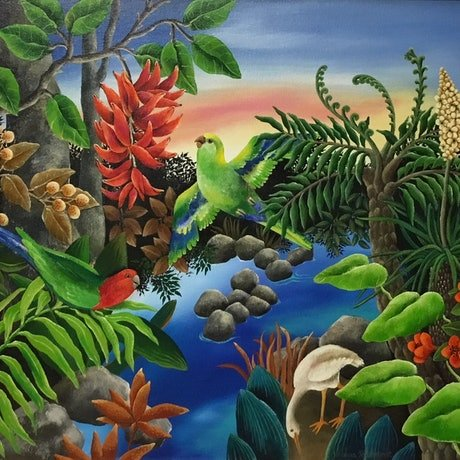 (CreativeWork) TROPICAL SUMMER by Johanna Hildebrandt. Acrylic Paint. Shop online at Bluethumb.