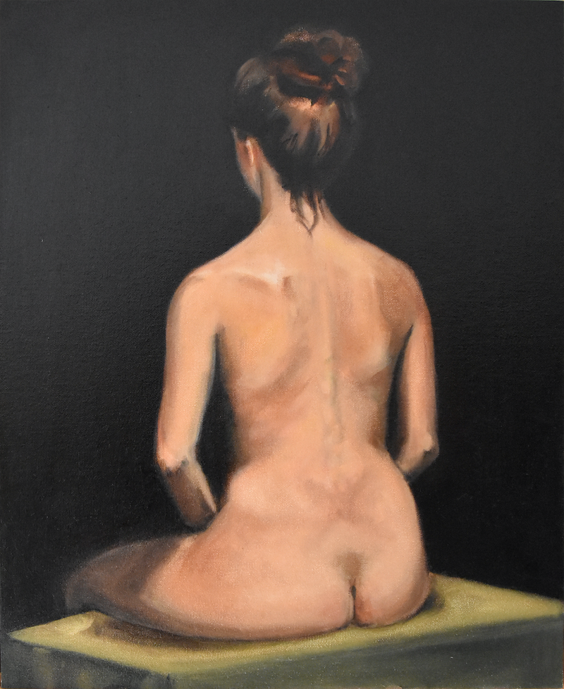 (CreativeWork) Study of a woman.  by Marc Bergmann. oil-painting. Shop online at Bluethumb.