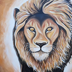(CreativeWork) Leo Lion  by Lisa Fahey. arcylic-painting. Shop online at Bluethumb.