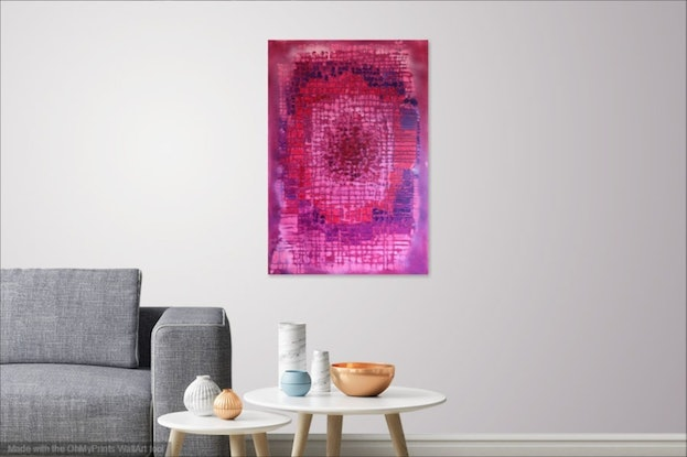 (CreativeWork) Red Center by Kitty Berton. Acrylic Paint. Shop online at Bluethumb.