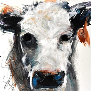 (CreativeWork) Cow no.14 by Rebecca Hill. mixed-media. Shop online at Bluethumb.