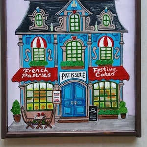 (CreativeWork) coffee shop home french style Patisserie by Bianka Boyaci. arcylic-painting. Shop online at Bluethumb.