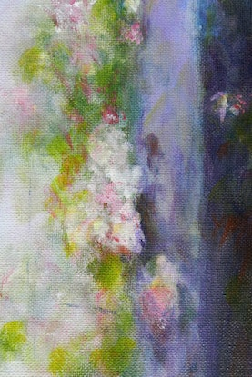 (CreativeWork) Pink Flowers with Fencepost by Anne Huth. Acrylic Paint. Shop online at Bluethumb.