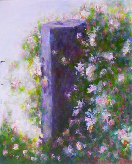 (CreativeWork) Pink Flowers with Fencepost by Anne Huth. arcylic-painting. Shop online at Bluethumb.