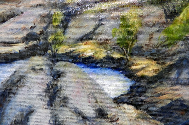 (CreativeWork) Little Annan Gorge, Cooktown, Qld, Aus. by Anne Huth. Mixed Media. Shop online at Bluethumb.