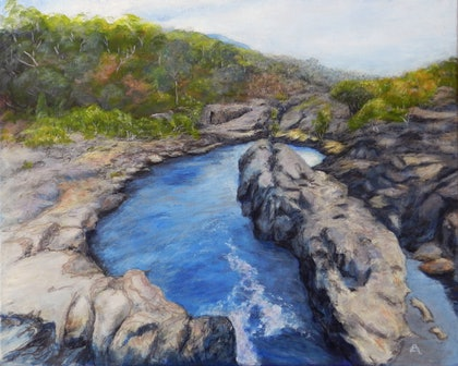 (CreativeWork) Little Annan Gorge, Cooktown, Qld, Aus. by Anne Huth. arcylic-painting. Shop online at Bluethumb.