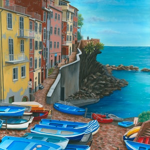 (CreativeWork) Riomaggiore- Limited Edition Giclee print  Ed. 1 of 100 by Debra Dickson. print. Shop online at Bluethumb.