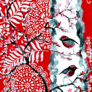 (CreativeWork) Red and Black Robins by Cathy Jacobs. arcylic-painting. Shop online at Bluethumb.
