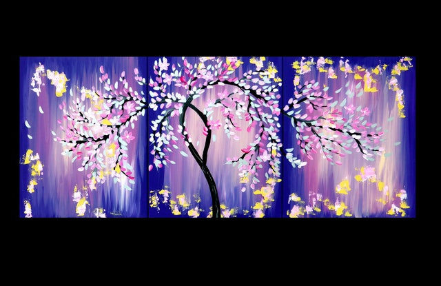 Pink And Purple Art With A Japanese Cherry Blossom Tree