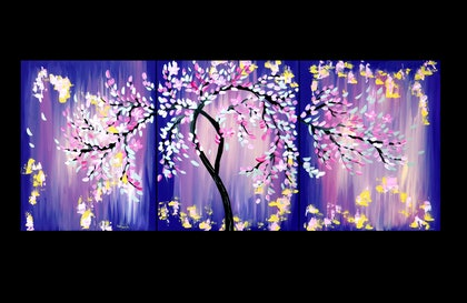 (CreativeWork) Pink and Purple Art with a Japanese Cherry Blossom Tree, On 3 Canvases by Cathy Jacobs. arcylic-painting. Shop online at Bluethumb.