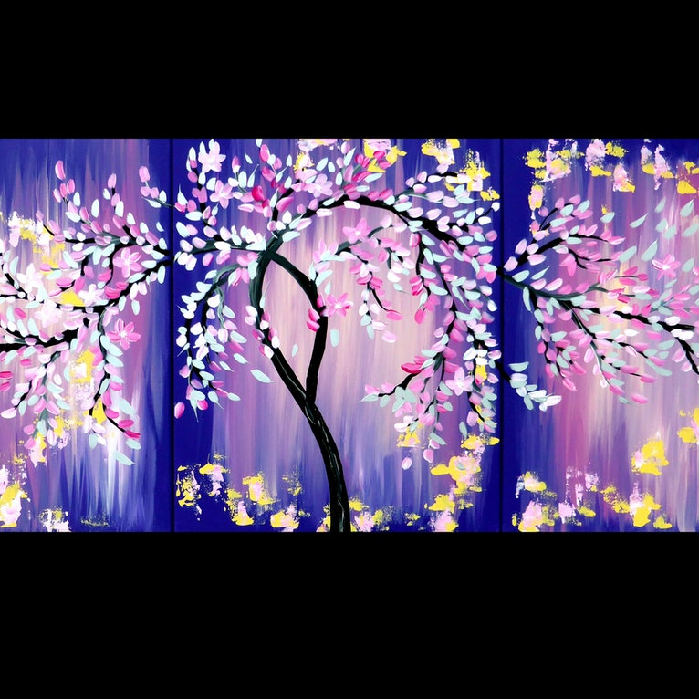 Pink And Purple Art With A Japanese Cherry Blossom Tree On 3