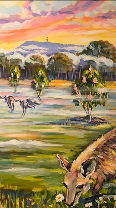 (CreativeWork) Spring season at the National Arboretum Canberra  by Valentyna Crane. Acrylic Paint. Shop online at Bluethumb.