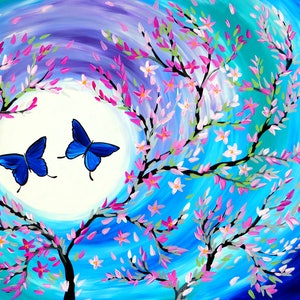 (CreativeWork) Butterflies and Flowers by Cathy Snow. arcylic-painting. Shop online at Bluethumb.