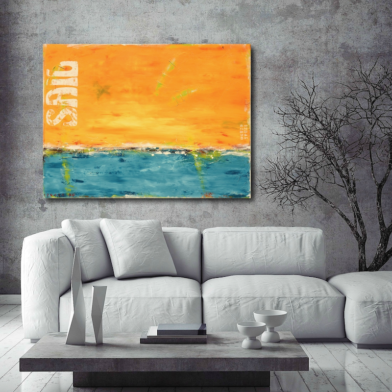 (CreativeWork) Sailboats on the Horizon by Sabina D'Antonio. arcylic-painting. Shop online at Bluethumb.