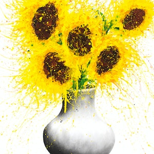 (CreativeWork) Sunflower Song by Ashvin Harrison. arcylic-painting. Shop online at Bluethumb.