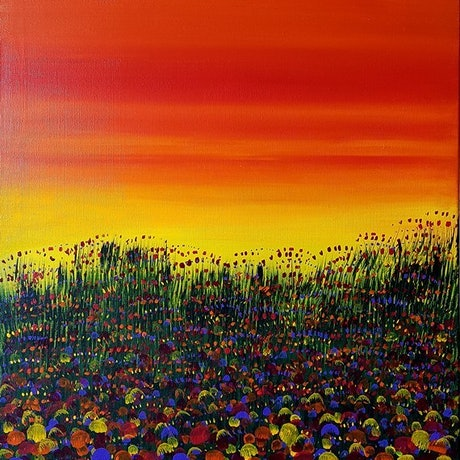 (CreativeWork) Spring Sunset by Alice West. Acrylic Paint. Shop online at Bluethumb.