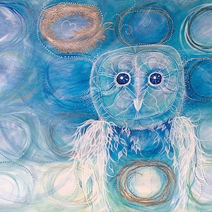 (CreativeWork) The Blue Owl Who Knew by Nevena Nikolic. mixed-media. Shop online at Bluethumb.