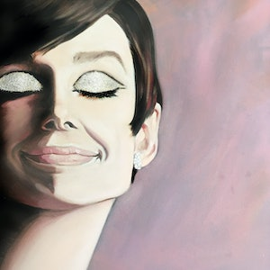 (CreativeWork) Sparkly 60's Audrey by Donna Christie. oil-painting. Shop online at Bluethumb.