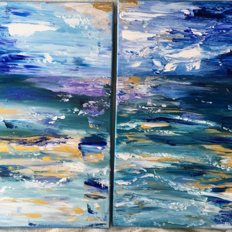 (CreativeWork) Seascape  x two canvas .  by Ruth Bye. Acrylic Paint. Shop online at Bluethumb.