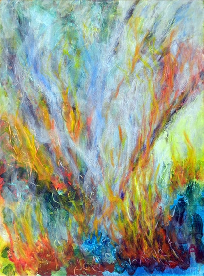 (CreativeWork) Bushfire by Anne Huth. arcylic-painting. Shop online at Bluethumb.