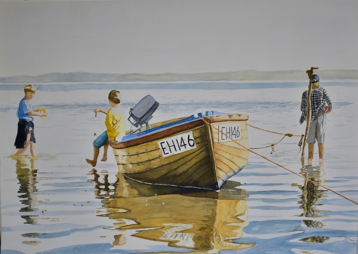 (CreativeWork) 3  boys and their boat,  French Island by John Barcham. watercolour. Shop online at Bluethumb.
