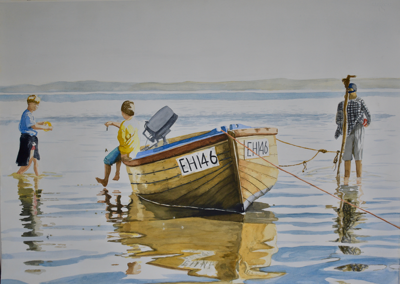 (CreativeWork) 3  boys and their boat,  French Island by John Barcham. Watercolour Paint. Shop online at Bluethumb.
