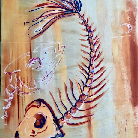 (CreativeWork) Fish by Anthony Arrop. Mixed Media. Shop online at Bluethumb.