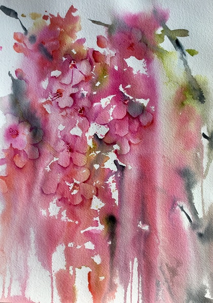 (CreativeWork) Blossoms - Modern Floral by Cynthia Copley. watercolour. Shop online at Bluethumb.