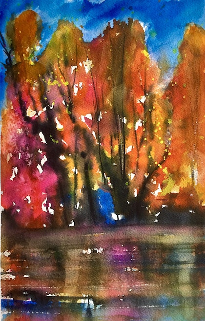 (CreativeWork) Colour Changes Everything - Small Landscape by Cynthia Copley. watercolour. Shop online at Bluethumb.