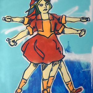(CreativeWork) DaVinegar Girl by Marc Bergmann. mixed-media. Shop online at Bluethumb.