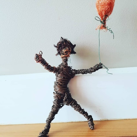 (CreativeWork) Wire child figure with balloon by Felicity Cavanough. Other Media. Shop online at Bluethumb.