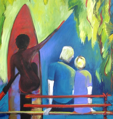 (CreativeWork) Travelling Up River PNG  by Glenise Clelland. Acrylic Paint. Shop online at Bluethumb.
