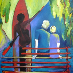 (CreativeWork) Travelling Up River PNG  by Glenise Clelland. acrylic-painting. Shop online at Bluethumb.