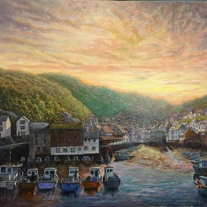 (CreativeWork) As the Sun Sets Polperro by Cheng Huat Lee. arcylic-painting. Shop online at Bluethumb.