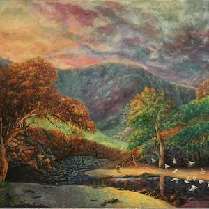 (CreativeWork) Approaching Storm Ormiston Gorge by Cheng Huat Lee. arcylic-painting. Shop online at Bluethumb.