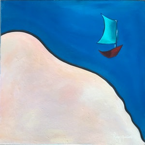 (CreativeWork) Line in the Sand Blue by Karen Goddard. oil-painting. Shop online at Bluethumb.