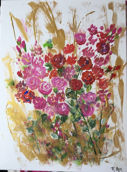 (CreativeWork) Roses and gold delight .  by Ruth Bye. arcylic-painting. Shop online at Bluethumb.