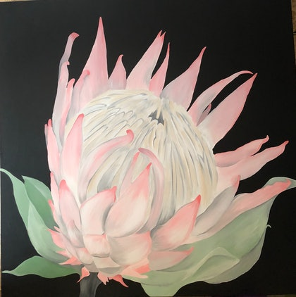 (CreativeWork) Protea by Mandy Collins. arcylic-painting. Shop online at Bluethumb.