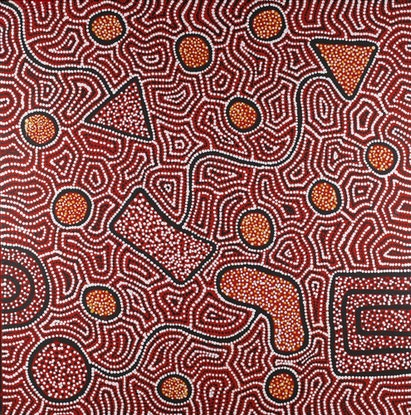 (CreativeWork) Ngapa Jukurrpa (Water Dreaming) - Puyurru 833/18 by Shanna Napanangka Williams. Acrylic Paint. Shop online at Bluethumb.
