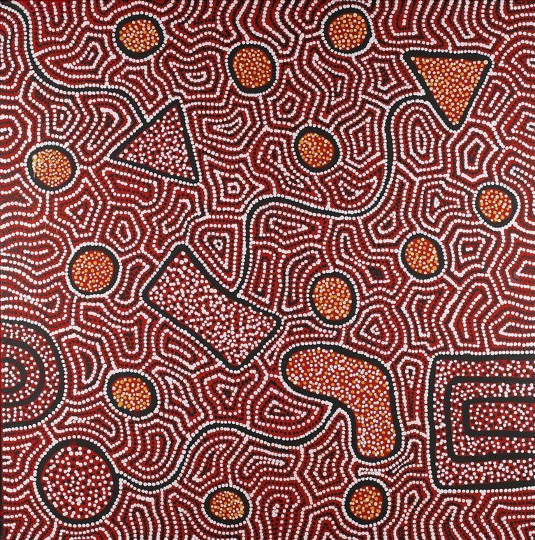 (CreativeWork) Ngapa Jukurrpa (Water Dreaming) - Puyurru 833/18 by Shanna Napanangka Williams. arcylic-painting. Shop online at Bluethumb.