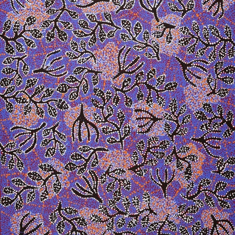(CreativeWork) Ngapa Jukurrpa (Water Dreaming) - Mikanji 895/18 by Juliette Nampijinpa Brown. Acrylic Paint. Shop online at Bluethumb.