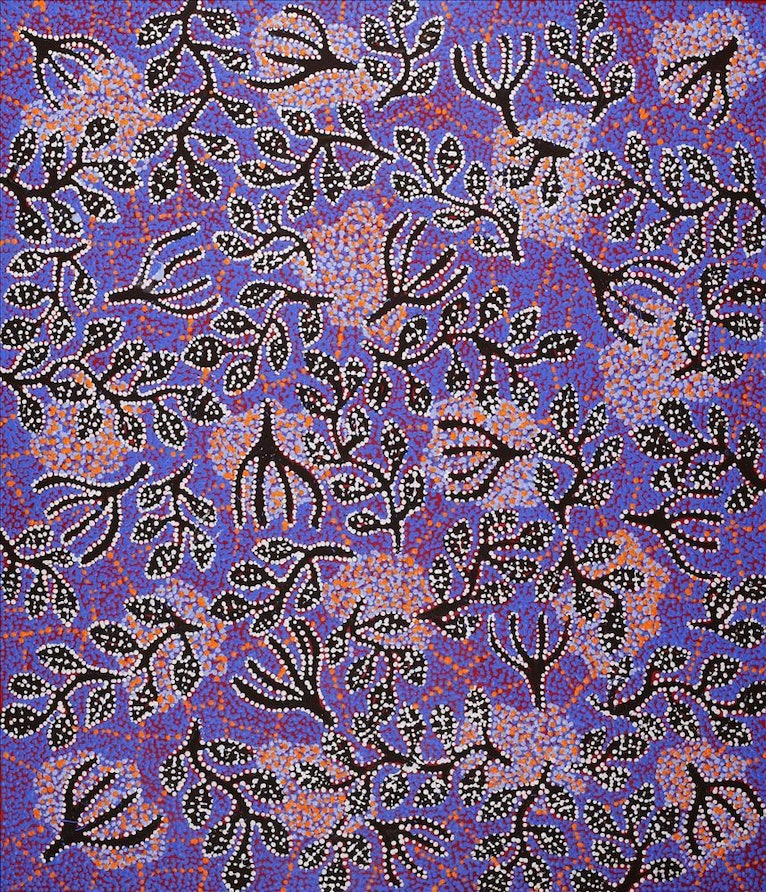 (CreativeWork) Ngapa Jukurrpa (Water Dreaming) - Mikanji 895/18 by Juliette Nampijinpa Brown. arcylic-painting. Shop online at Bluethumb.