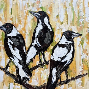 (CreativeWork) A Charm of Magpies in the Grass by Lisa Fahey. arcylic-painting. Shop online at Bluethumb.