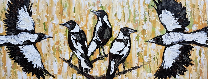 CreativeWork A Charm Of Magpies In The Grass By Lisa Fahey Arcylic