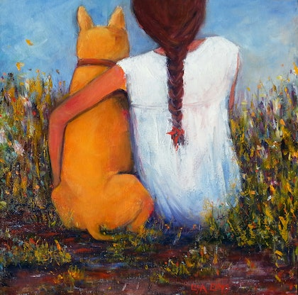(CreativeWork) summer days with my friend  by Lisa Elms. oil-painting. Shop online at Bluethumb.